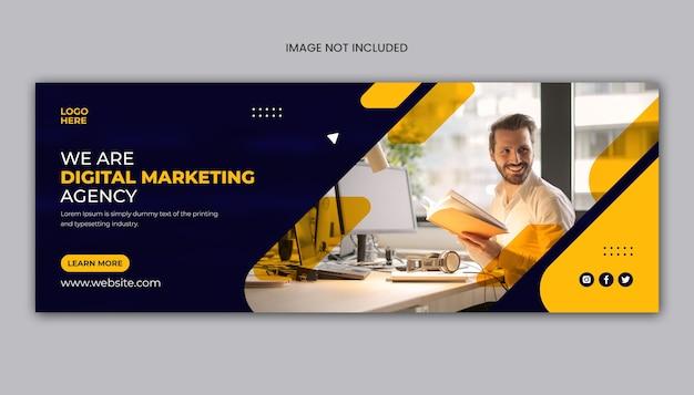 Digitaal marketingbedrijf facebook-omslag of webbannersjabloon
