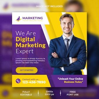 Digitaal marketingbureau en postsjabloon voor sociale media voor bedrijven