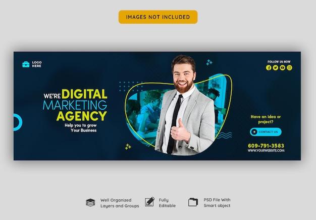 Digitaal marketingbureau en zakelijke facebook-omslagsjabloon