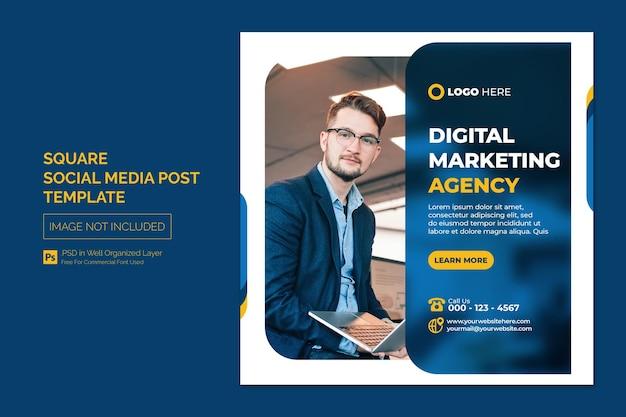 Digitaal marketingbureau en zakelijke sociale media plaatsen of vierkante webbannersjabloon