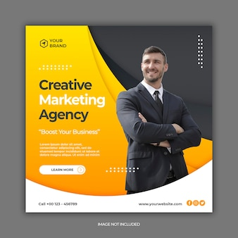 Digitaal marketingbureau en zakelijke sociale media post of vierkante webbannermalplaatje