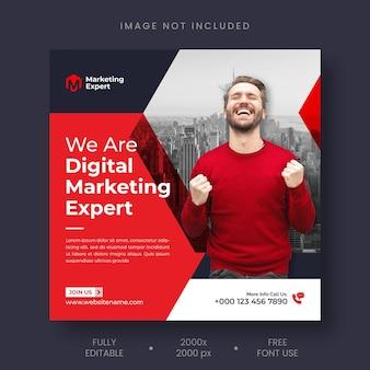 Digitaal marketingbureau instagram-post en sjabloon voor spandoek voor sociale media