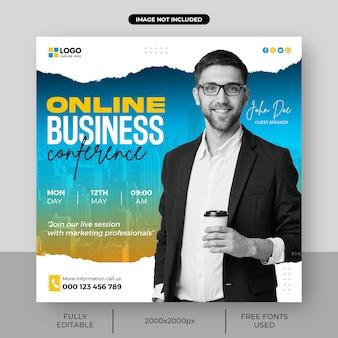 Digitaal marketingbureau live webinar en corporate square social media postsjabloon