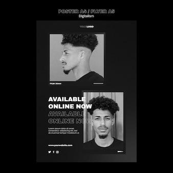 Digitaal winkelen poster sjabloon met foto