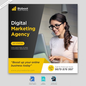 Digital business marketing banner de medios sociales o flyer cuadrado premium psd