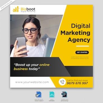 Digital business marketing banner de medios sociales o flyer cuadrado premium psd