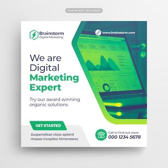 Digital business marketing publicación en redes sociales y banner web