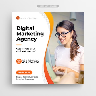 Digital business marketing social media post banner y folleto cuadrado