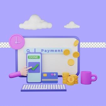 Digitale betaling 3d illustratie concept. premium psd