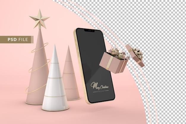 Digitale kerst met mockup smartphone en kerstversiering