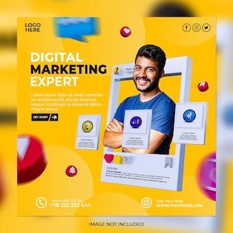 Digitale marketing bedrijfsstrategieën en corporate social media postsjabloon