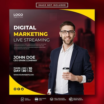 Digitale marketing live streaming social media post en webbanne-sjabloon
