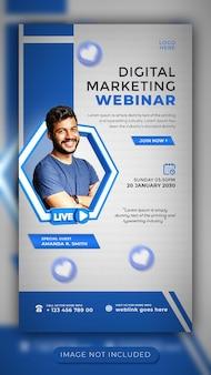 Digitale marketing live webinar en workshop social media verhaalsjabloon voor facebook en instagram