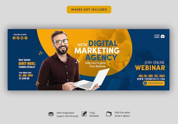 Digitale marketing live webinar en zakelijke facebook-omslagsjabloon
