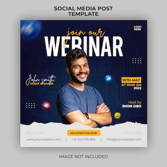Digitale marketing live webinar en zakelijke social media postbannersjabloon Premium Psd