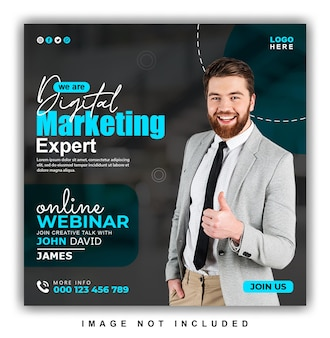 Digitale marketing online webinar en corporate social media post design