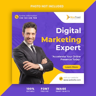 Digitale marketing social media square banner post