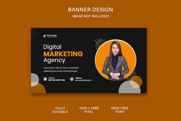 Digitale marketing sociale media en webbanne-sjabloonontwerp