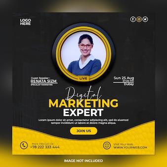 Digitale marketingexpert en zakelijke social media postsjabloon