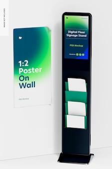 Digitale vloersignagestandaard met postermodel