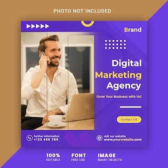 Digitale zakelijke marketing sociale media plaatsen vierkante sjabloon