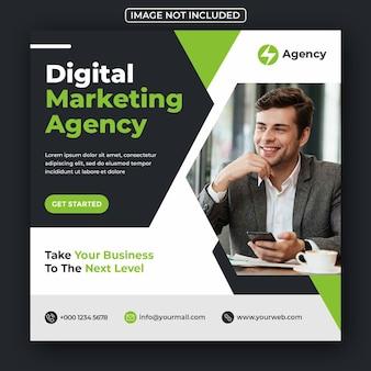 Digitale zakelijke marketingbureau sociale media post en webbanner