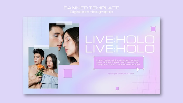 Digitalisme holografisch met paar samen banner