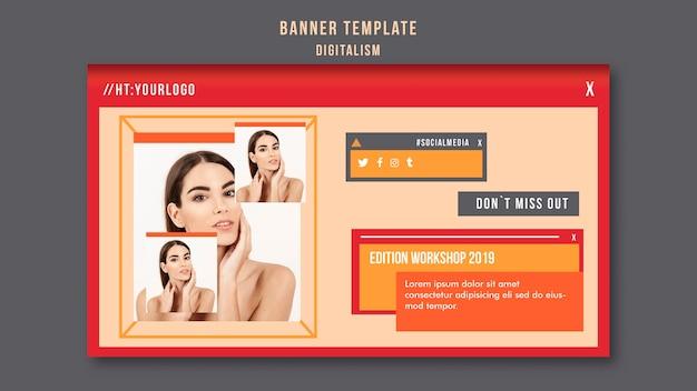 Digitalisme horizontale banner sjabloon met foto van vrouw