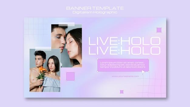 Digitalismo holográfico con banner de pareja juntos.