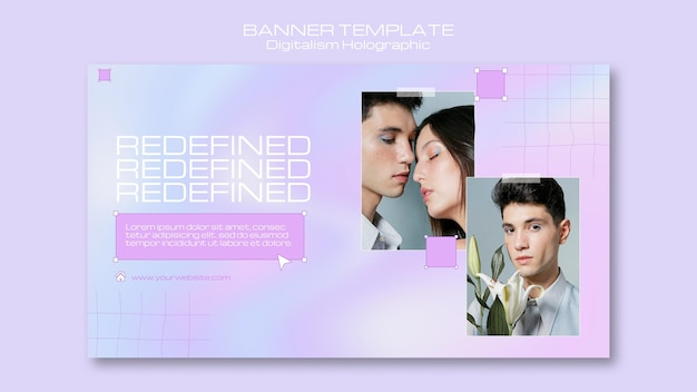 Digitalismo holográfico redefinido con banner de pareja