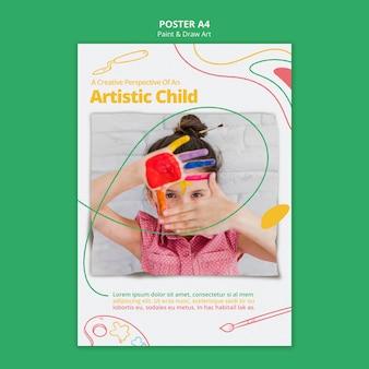 Dipingi e disegna il tema del modello di poster d'arte