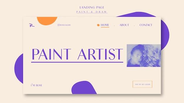 Dipingi e disegna la landing page dell'artista