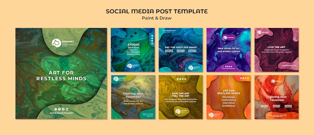 Dipingi e disegna post sui social media