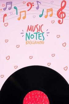 Disco de música en concepto de notas musicales