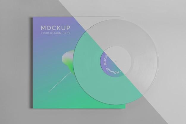 Disco de vinilo retro abstracto con maqueta de embalaje