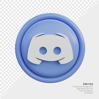 Discord 3d-stijl logo concept icoon in ronde geïsoleerd