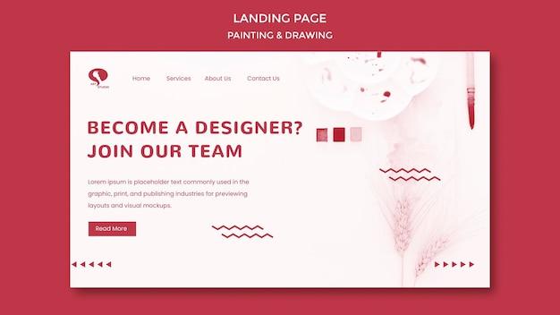 Disegnare e dipingere modello di landing page