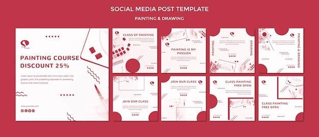 Disegnare e dipingere modello di post sui social media