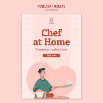 Disegno del manifesto dello chef a casa