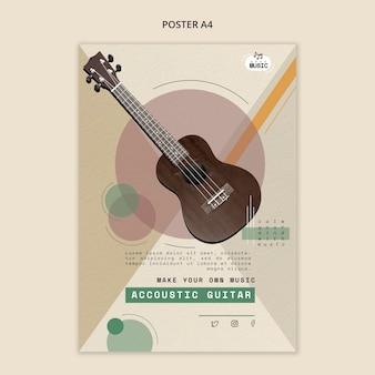 Disegno del manifesto di lezioni di chitarra acustica