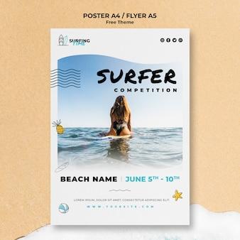 Disegno del modello del manifesto del surfista