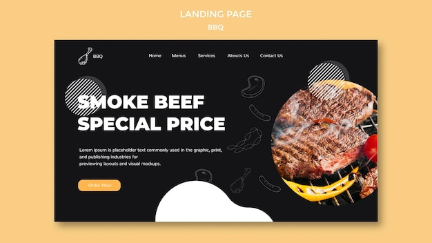 Disegno del modello della pagina di destinazione del barbecue