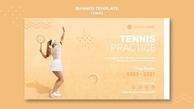 Disegno del modello di banner pratica di tennis