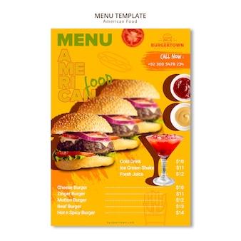 Disegno del modello di menu di cibo americano