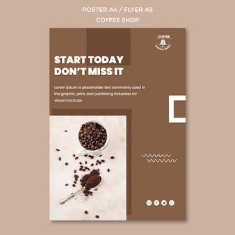 Disegno del modello di poster di caffetteria