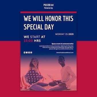 Disegno del modello di poster di memorial day
