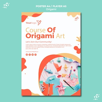 Disegno del modello di poster di origami