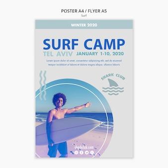 Disegno del modello di poster di surf