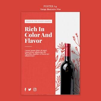 Disegno del modello di poster di vino