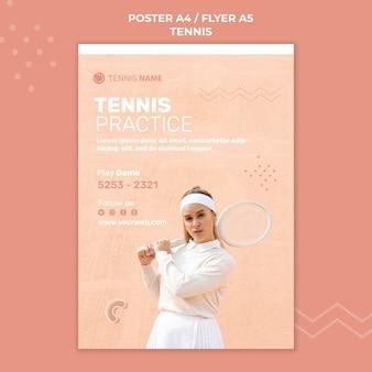 Disegno del modello di poster pratica di tennis